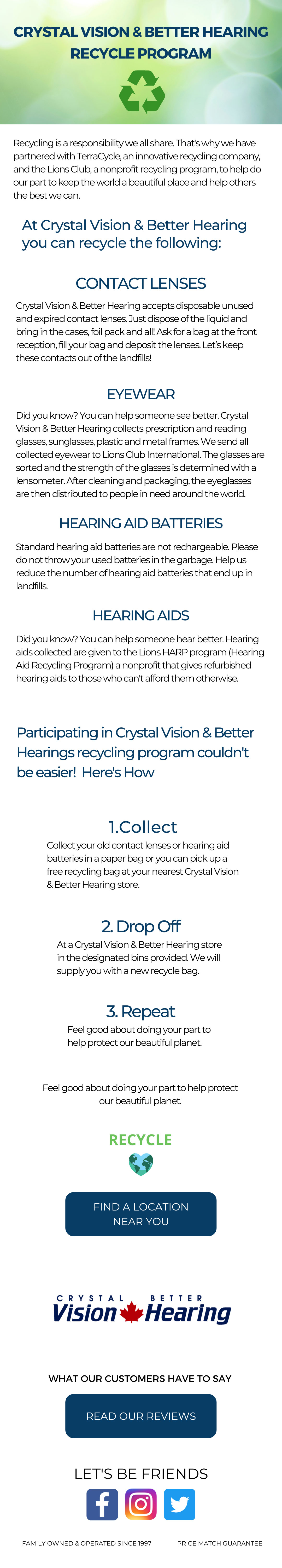 Crystal Vision & Better Hearing Recycle Program, Recycle Contact Lenses, Recycle Eyewear, Recycle Glasses, Recycle Hearing Aid Batteries, Recycle Hearing Aids